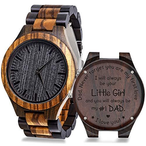 Reloj de pulsera de madera grabado para hombre, reloj de pulsera de madera natural, regalo de novios para hombres, regalo de aniversario de boda personalizado para hombres