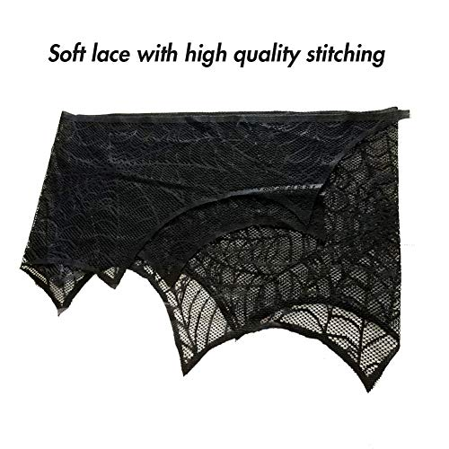 Lulu Home Halloween Fireplace Decorations, Fireplace Mantle Scarf Cover, Black Lace Spider Web for Door, Window and Fireplace Decoration, Halloween Decorations