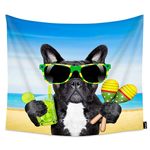 Mugod Cool Dog Tapestry Brazil French Bulldog Dog for Sunglasses Enjoying a Cocktail at The Beach on Summer Home Decor Tapestry Wall Hanging for Bedroom Living Room Dorm, 60WX51H Inches