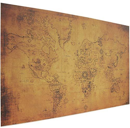 Schreibtischunterlage Vintage Braun mit alter Weltkarte | Größen: 70x50cm & 90x50cm |Alte Landkarte auf Papier | Made in Germany