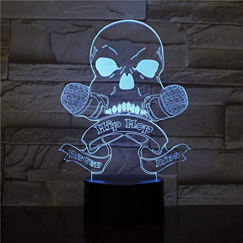 Hip Hop Música Cráneo Nunca Muera Niños Durmiendo Decoración Luces De Noche Led 3D Modelado 7 Color Atmósfera Lámpara De Escritorio Accesorio De Iluminación