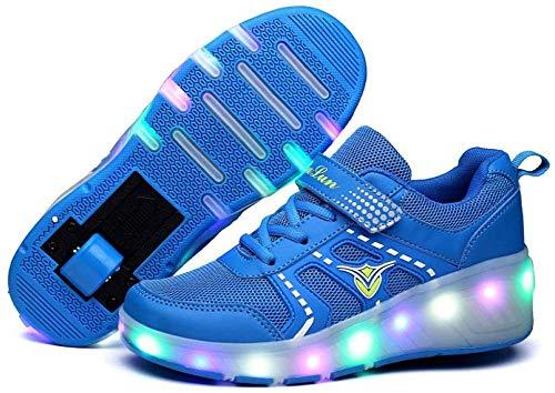 liangh Mode LED Rolle Schuhe,Atmungs Kinder Einrad Schuh,Einziehbare Einrad Schuhe,Draussen Turnschuhe,Rosa-EU30,Blue-EU35