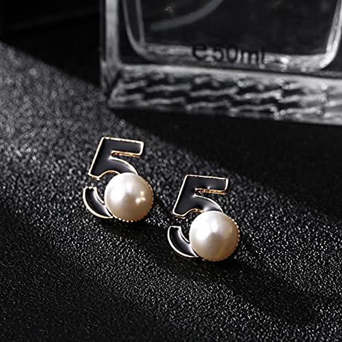 liuliu Pendientes de Perlas de diseño de Marca para Mujer Joyería de Moda Pendientes Finos de Letra al por Mayor de Metal Dorado