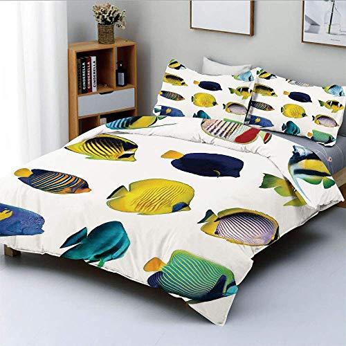 Juego de funda nórdica, figuras de peces tropicales con pez anémona Zebrasoma Dive Nemo Aqua Decoración para el hogar Juego de cama decorativo de 3 piezas con 2 fundas de almohada, Multi, el mejor reg