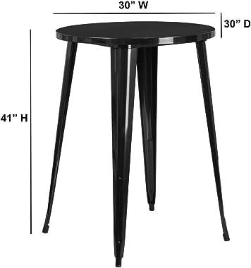 Flash Furniture 30'' Round Black Metal Indoor-Outdoor Bar Height Table