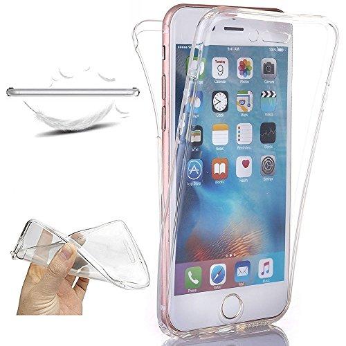 XCYYOO Funda para iPhone 6 Plus/ 6S Plus Silicona,Carcasas para iPhone 6 Plus/6S Plus, [360 Grados Full Body] Transparente Suave Ultrafina Gel Silicona TPU Choque Arañazos Protectora Case