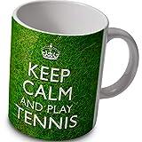 "verytea - Tazza con Scritta ""Keep Calm And Play Tennis"" su Sfondo con Erba Verde"
