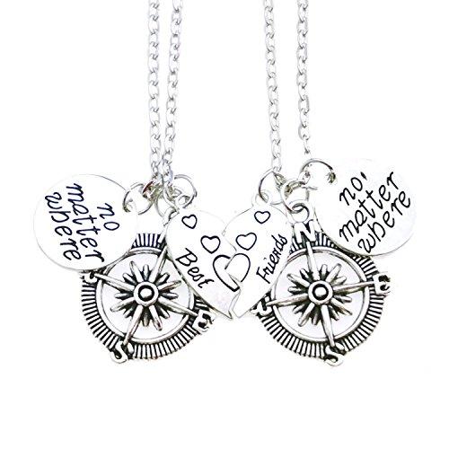 ALoveSoul Best Friends Necklaces No Matter Where Compass Heart Broken Heart Charm Friendship Pendant Set