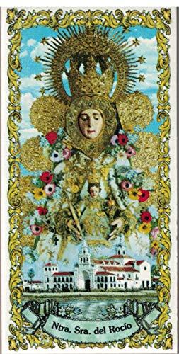 Virgen del Rocío. Azulejo fabricado artesanalmente para decorar. Cerámica para colgar. Calca cerámica (14x28 cms)
