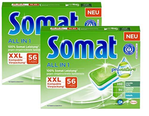 Somat All in 1 Pro Nature Spülmaschinen-Tabs, 112 (2x56) Tabs, umweltfreundlich mit 100 Prozent Somat Leistung, mit wasserlöslicher Folie