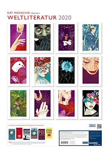 Kat Menschik illustriert Weltliteratur – Literarischer Posterkalender in Bildern 2020 – Wand-Kalender von DUMONT – Format 49,5 x 68,5 cm - 2