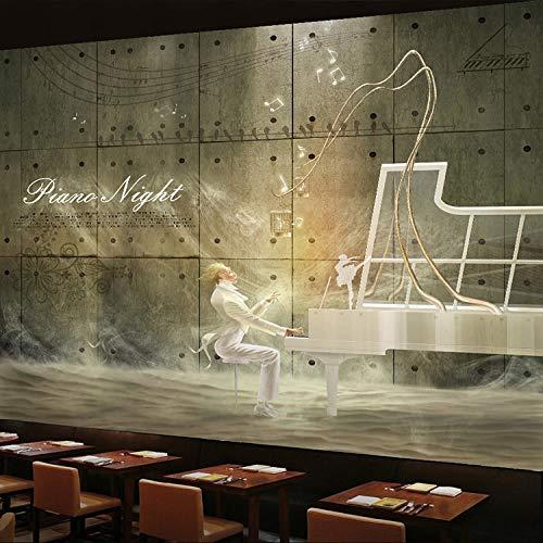 Bdhnmx 3D Custom Wallpaper Europese Stijl Stereo Fantasy Beethoven Piano Mural Vrije tijd Cafe Muziek Retro Mural Non-Woven Wallpaper 3D muurschildering 400 cm.