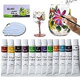 Glass Paint Set 12 Colors, Non-Toxic Acrylic Stain Glass Paint with Palette for Porcelain,Wine Glass, Bottle, Light Bulbs ,Ceramic, Window Ornaments DIY paints( 0.4 fl.oz/Tube)