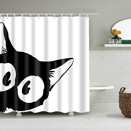 gwregdfbcv Black and white eyes cat shower curtainBathroom accessories 180X180CM waterproof and mildew shower curtain