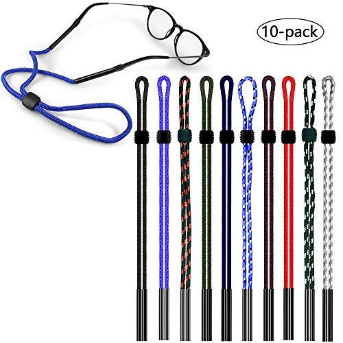 CKANDAY CKANDAY 10er Pack Sonnenbrillen-Halteriemen, Sicher verstellbar Brillen Eyewear Retainer Neck Cord Lanyard für Sport Laufen Outdoor-Aktivitäten Kids Teens Men Women - 10 Colors