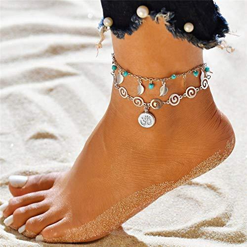 JEFEYI Tobillera de Playa Tobillo de Flor con Dije de Tortuga para Mujer de UVA en Verano Pulsera de Tobillo de Cuerda para piernas Accesorios para pies de Playa -50179