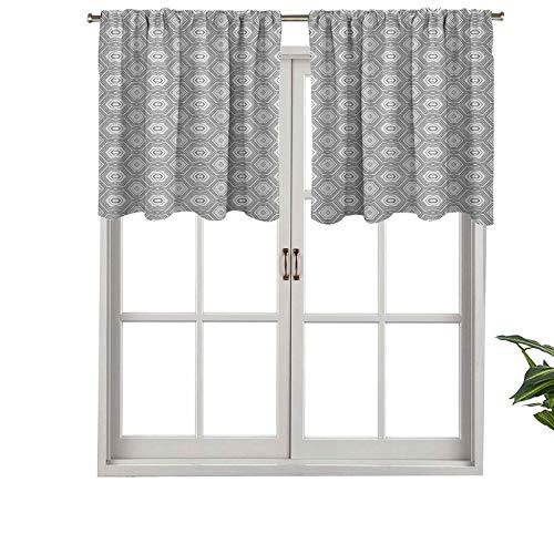 Hiiiman Cenefas de cortina opacas con bolsillo para barra cortas, patrón abstracto con muchos elementos angulares, un caleidoscopio, juego de 2, 42 x 36 pulgadas para cocina y baño