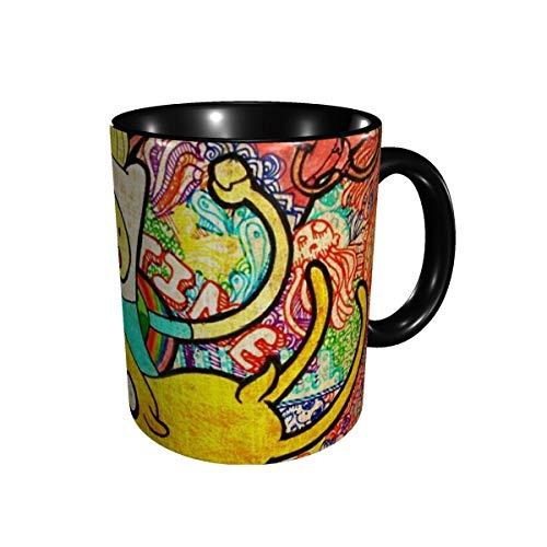 huatongxin Taza de té de cerámica Tazas de café Hora de aventura Tazas de café únicas Regalos perfectos para la oficina y la familia Negro