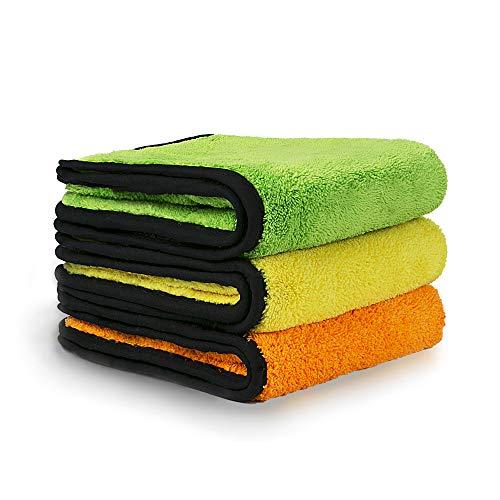 Vacplus 洗車タオル,厚手タイプ ふんわりタッチ マイクロファイバークロス 吸水 速幹 洗車拭き取り クロス タオル 44*37cm (3枚セット)