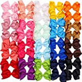 40 Pieces Hair Bows Clips Grosgrain Ribbon Boutique Hair Bow Alligator Clips For Girls Teens Toddlers Kids (20 Colors in Pairs) (4.5 Inch)
