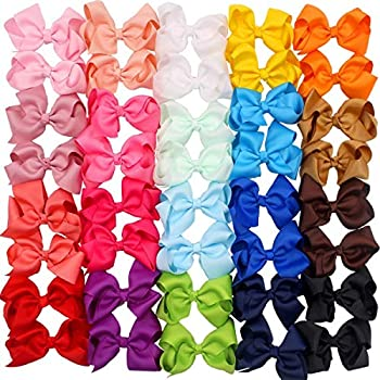 40 Pieces Hair Bows Clips Grosgrain Ribbon Boutique Hair Bow Alligator Clips For Girls Teens Toddlers Kids  20 Colors in Pairs   4.5 Inch