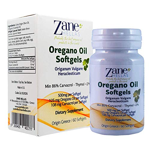 Zane Hellas Oregano Oil Softgels. The Highest Concentration in The World.Every Softgel Contains 25% Pure Greek Essential Oil of Oregano.108 mg Carvacrol per Softgel.240 Softgels.Buy 3 get 1 Free.