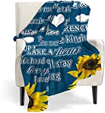 Sunflower Healing Compassion Warm Hugs Gift Throw Blanket Strength Courage Super Soft Positive Energy Love Comfort Caring Soft Thoughtful Uplifting Healing Gift for Best Friend Women Men Blanket(Blue)