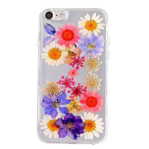 Real Flower Case for iPhone 7, Elegant TIPFLY iPhone 8 Handmade Pressed Dried Flowers Soft Silicone Cover, Transparent Ultra-Thin Ultra-Light Skin for iPhone 7/8 (Real Flower #18)