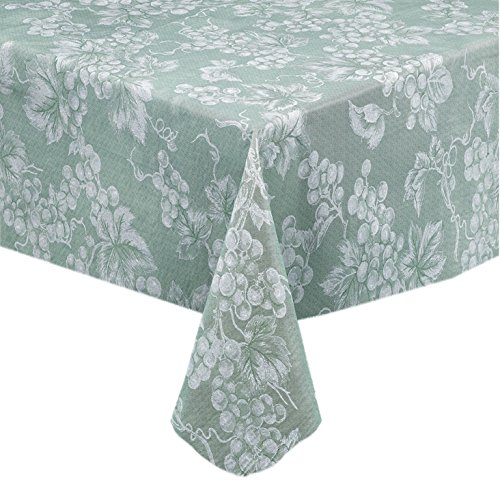 Grapevines Contemporary Grape Print Heavy 4 Gauge Vinyl Flannel Backed Tablecloth, Indoor/Outdoor Wipe Clean Tablecloth, 52 Inch x 52 Inch Square, Sage