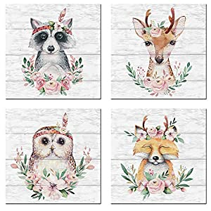 Woodland Baby Animals Floral Crowns Wall Art Canvas Set of 4 for Kids Room Decor Nordic Cute Woodland Animals Wall Pictures Art Prints Framed for Nursery Wall Home Decor (Red, 16x16inchx4pcs)