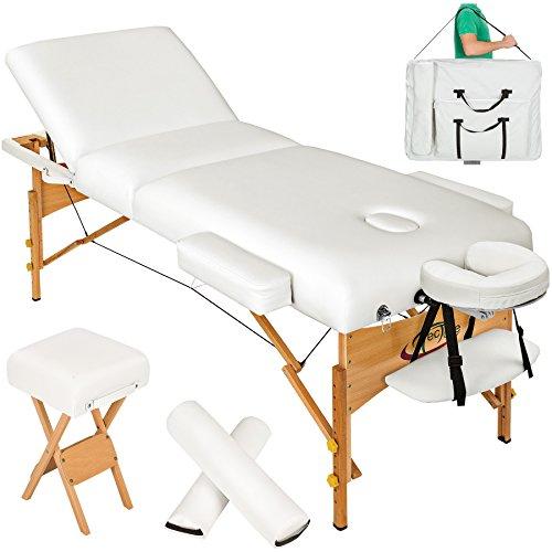 TecTake Massageliege 10cm reine Polsterung inkl. 2 Lagerungsrollen, Hocker & Tasche & Alukopfstütze - Farbe wählbar - (Weiß)