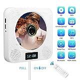 Lecteur CD/DVD Portable, Montage Mural Bluetooth Lecteur DVD/CD avec Télécommande,Haut-Parleur HiFi intégré/Radio FM/Prise de Casque 3,5 mmAux/Port USB et HDMI (Blanc)
