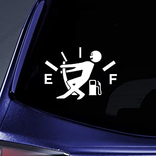 """Funny Gas Gauge Sticker Decal Notebook Car Laptop 5.5"""" (White)"""