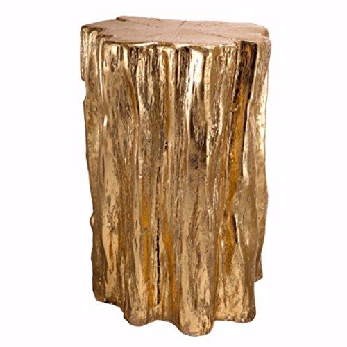 Benjara Nature Inspired Tree Trunk Metal Stool, Gold