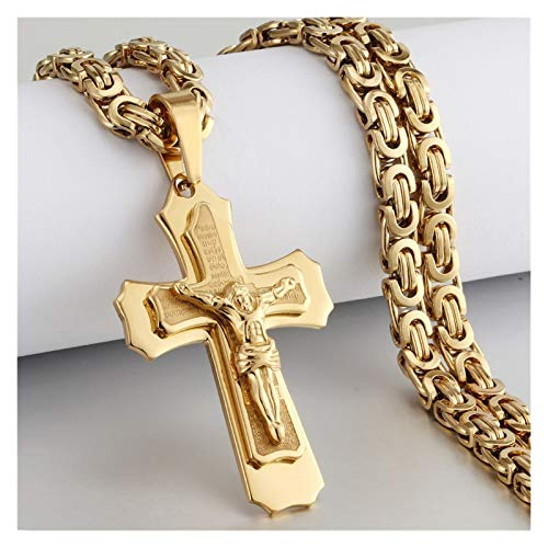 BGDRR Religious Men Stainless Steel Crucifix Cross Pendant Necklace Chain Necklaces Jesus Christ Holy Gifts (Length : 70cm, Metal Color : A Gold Color)