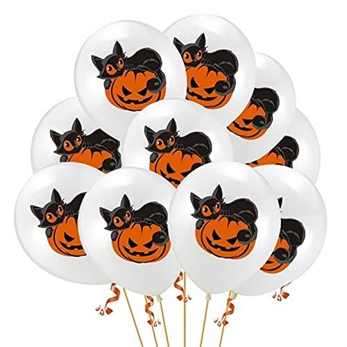 ENHONGDZ 10 unids Pumpkin Ghost Confetti Globo Scary Haunted House Prop Feliz Halloween Decoración Aire (Color : 4, Size : A)