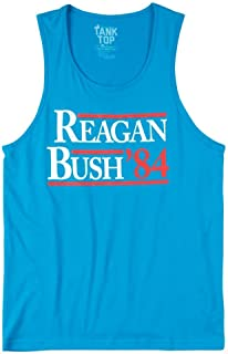 ROWDY GENTLEMAN Men's Reagan Bush '84 Tank Top, Light Blue, Small
