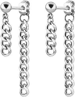 Fusamk Punk Rock Stainless Steel Long Chain Stud Earrings Drop Dangle Earrings
