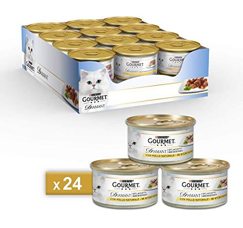 PURINA GOURMET DIAMANT Umido Gatto Sfilaccetti con Pollo Delicato- 24 lattine da 85g ciascuna (confezione da 24x85g)