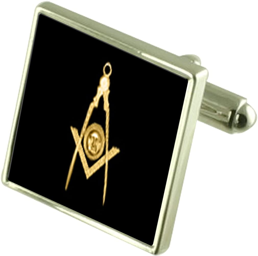 Select Gifts Solid Silver Masonic Max 69% quality assurance OFF Deacon Senior Cufflinks Square