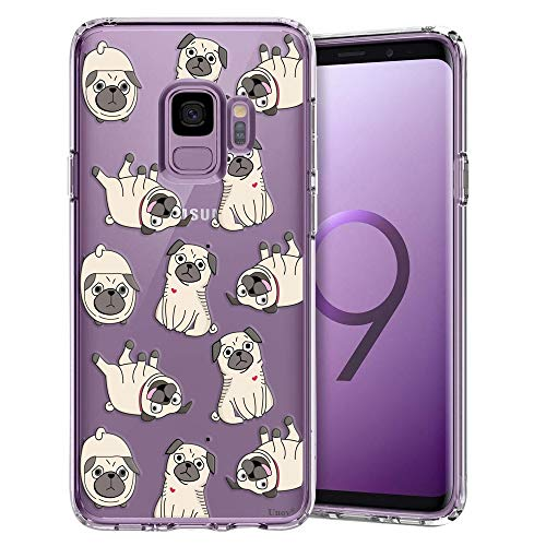 Unov Galaxy S9 Case Clear with Design Soft TPU Shock Absorption Slim Embossed Floral Pattern Protective Back Cover for Galaxy S9 (Pug Dog)