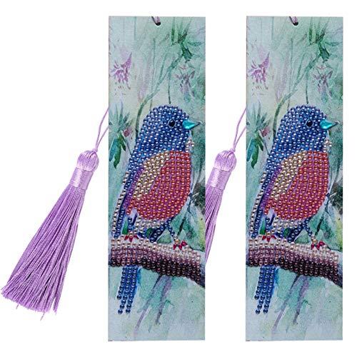 Bird Diamond Lesezeichen, Stick Lesezeichen mit Quaste, schöne personalisierte DIY Lesezeichen Geschenke für Weihnachten