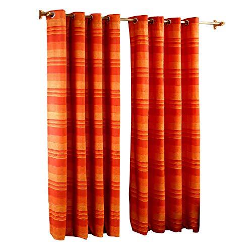 Homescapes handgewobener Vorhang Morocco im 2er Set Ösenvorhang 140 x 140 cm Dekoschal in Streifen-Optik aus 100{42b25fa14226a1d08c7121e5541154edfb01d34f714b2347811c8ca28e793f43} reiner Baumwolle in terracotta