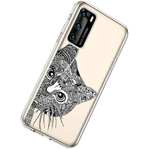 Herbests Kompatibel mit Huawei P40 Hülle Silikon Weich TPU Handyhülle Durchsichtige Schutzhülle Niedlich Muster Transparent Ultradünn Kristall Klar Handyhülle,Schwarze Katze