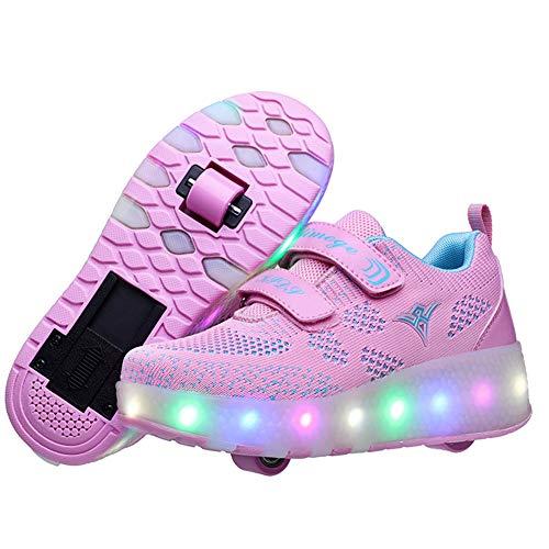Zapatillas con Ruedas para Niños 7 Colores LED Luz Luminosas Zapatos Doble Rueda Patines Calzado Deportivo al Aire Libre Niño y Niña Gimnasia Zapatos de Skateboard con USB Carga
