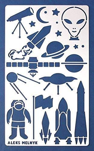 Aleks Melnyk #23 Schablone/Metall Stencil Vorlagen for Painting/UFO, Weltraum Rakete/1 Stück/DIY Kunst Projekte/Stencil für Scrapbooking und Zeichnen/Brandmalerei Schablone/Basteln