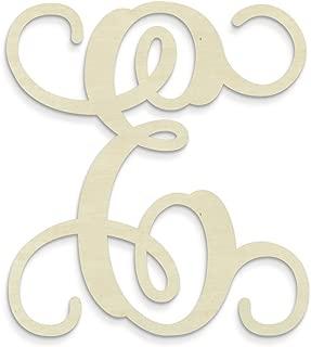 UNFINISHEDWOODCO Single Vine Unfinished Monogram E Decorative Letter, 13-Inch