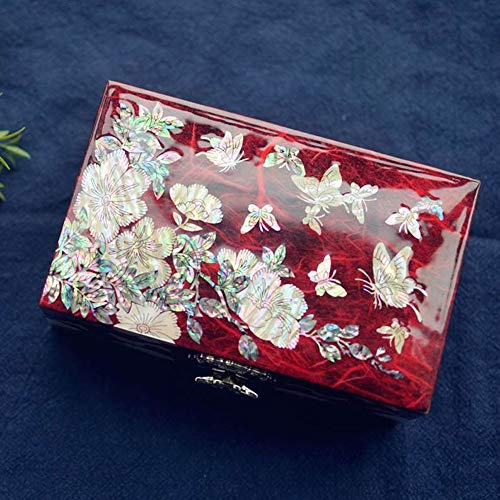 WSJTT Boîte à Bijoux boîte à Bijoux en Bois Bijoux Main, Collier Organisateur de Bijoux avec Porte-Bijoux de Verrouillage pour Boucles d'oreilles Bracelets bagues (Color : Red)
