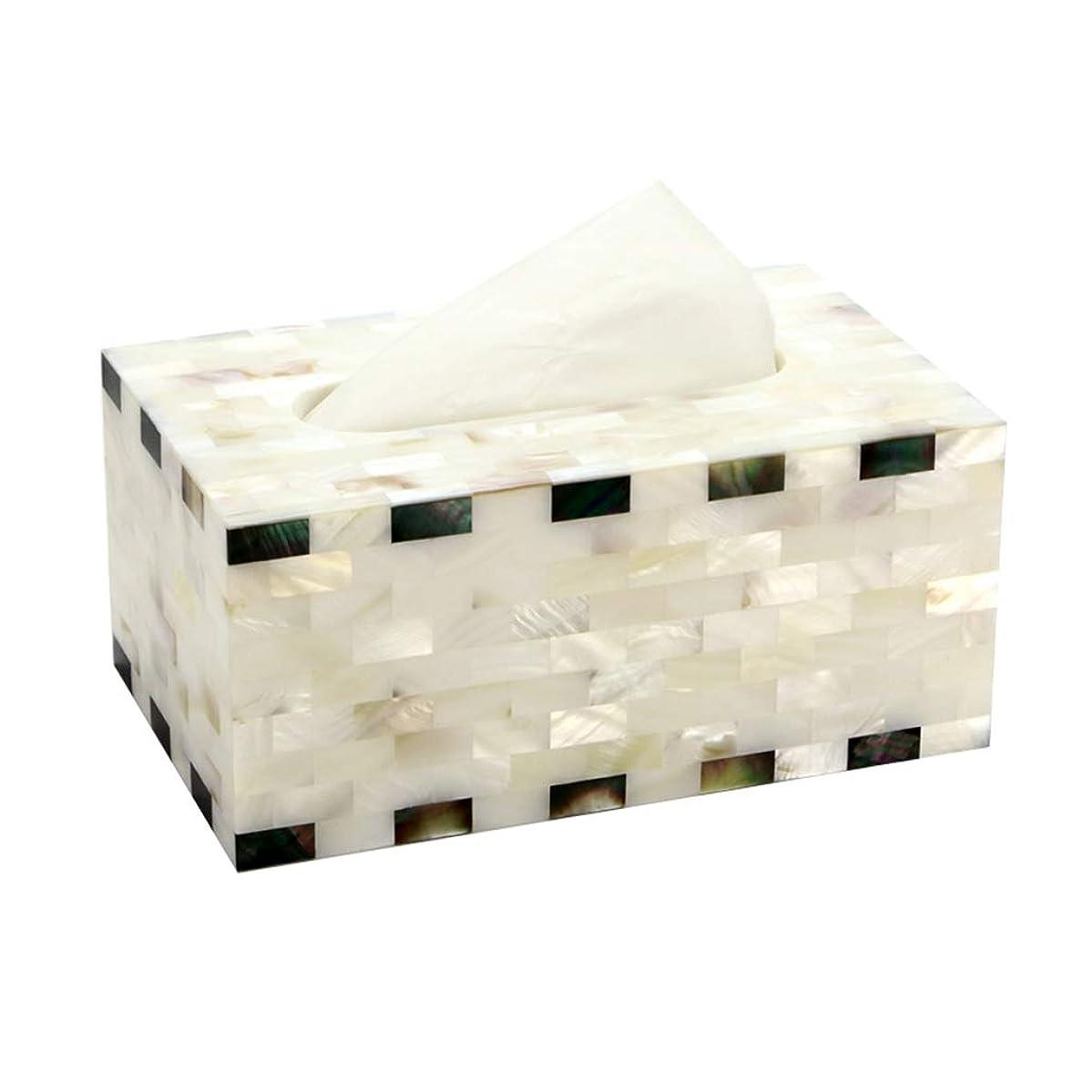 擬人上げる中絶GWM クリエイティブ白黒シェルティッシュホルダーボックスホーム長方形リビングルームデスクトップ収納ボックス防水浴室ペーパータオルラック、18.5×11×9センチ