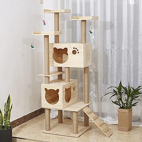 SUNXC Plattform für Kätzchen Katzen, Massivholz Spielzeug Katzenklettergerüst Katzentoilette, mehrlagig große Sprungplattform Katzenkratzbrett-Massivholz 101,Kratzbaum Katzen